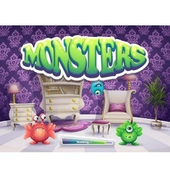 Example of loading screen for the game Monsters vector image