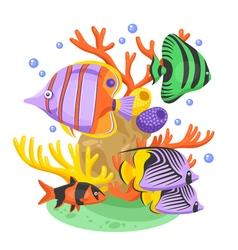 Exotic tropical fish vector