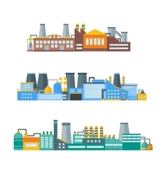 Factory Flat Set vector image