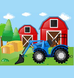 Farm scene with tractor on the field vector
