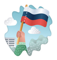 Flag russia watercolor brush stylehand drawn vector