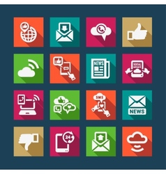 Flat communication icons set vector