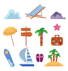 Flat summer beach elemetns symbols set vector