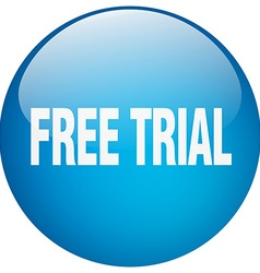 Free trial blue round gel isolated push button vector