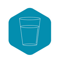 glass water icon outline style vector image