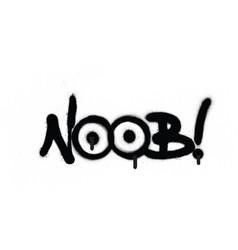 Graffiti noob chat abbreviation in black vector