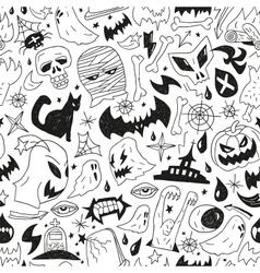 Halloween monsters - seamless background vector