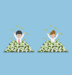 happy businessman standing in a pile money vector image