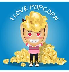 Happy man carrying big popcorn and heap of popcorn vector