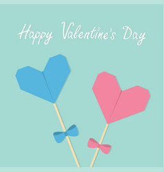 Happy valentines day two sticks with origami vector