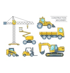 Heavy construction machinery transport outline vector