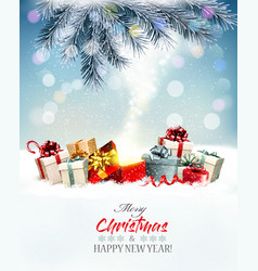 holiday christmas background with a red magic box vector image