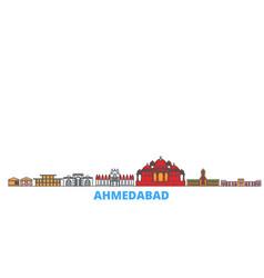 India ahmedabad line cityscape flat vector