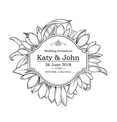invitation with orchid flowers for wedding vector image