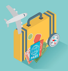 isometric travel with airplane design concept vector image