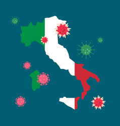 italy map country with coronavirus vector image