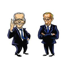 Joe biden vladimir putin cartoon editorial vector