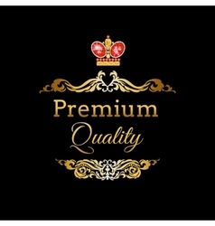 Label with ruking crown vector