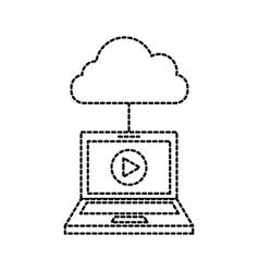 laptop cloud computing player online internet vector image