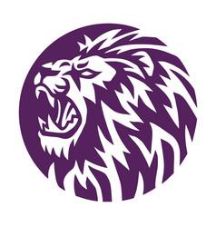lion head round circle sports logo vector image