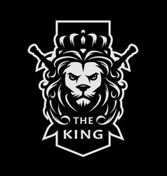 Lion king symbol logo emblem on a dark vector
