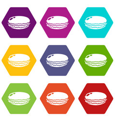 Macaroons icons set 9 vector