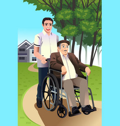 man pushing a senior in a wheelchair vector image