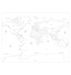 Map world detailed thin black outline vector