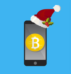 Mobile phone bitcoin christmas payment concept vector