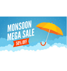Monsoon sale offer rain season background rainy vector