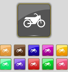 Motorbike icon sign set with eleven colored vector