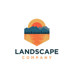 mountain and sea lake landscape adventure logo vector image