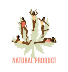 Natural product hand drawn girls vector