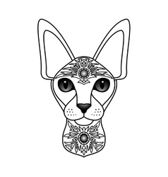 Ornamental White Cat vector