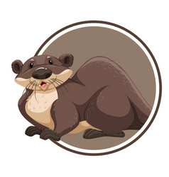 Otter in circle banner vector