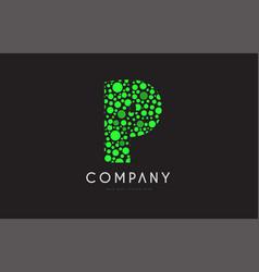 p letter bubble green logo icon design vector image