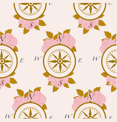 pattern design with roses golden leaves vector image