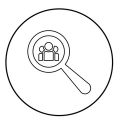 people search icon black color in circle round vector image