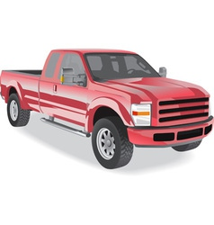 Pick-up truck red on white vector
