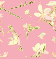 pink floral seamless pattern with lily vector image