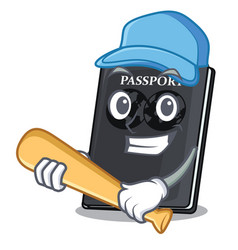 Playing baseball black passport in a cartoon bag vector