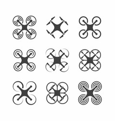 quadrocopter drone icons vector image