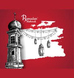 Ramadan mubarak mosque tower lantern and ribbon vector