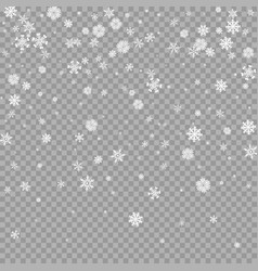 Realistic falling white snow overlay on vector