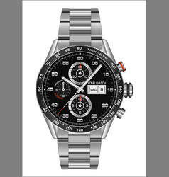 Realistic watch clock chronograph steel black face vector