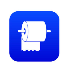 roll of toilet paper on holder icon digital blue vector image
