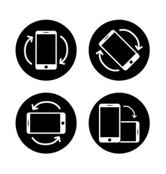 Rotate smartphone icon isolated mobile screen vector