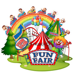 Scene with monkeys at fun fair on white background vector