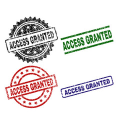 scratched textured access granted stamp seals vector image