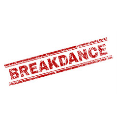 Scratched textured breakdance stamp seal vector